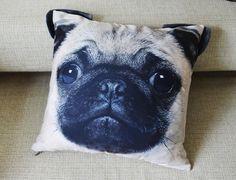 Pillow cover Pug pillow case cushion cover Pug por BENWINEWIN