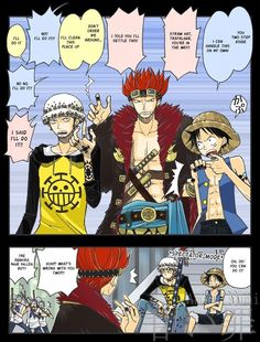 Eustass Kid, Trafalgar Law and Monkey D. Luffy- would have been even funnier this way!!!