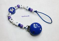 Schnullerkette Stern Wunschname Name Baby md215 von myduttel auf DaWanda.com