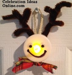 #easyChristmasCraft.. make a reindeer from a tealight! Here's Rudolph lit up and ready to adorn your #Christmastree! Such an easy #ChristmasOrnament to make!