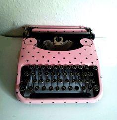 Pink and Black Vintage Polka Dot Typewriter