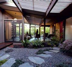 Eichler mid century modern home: The Briscos' calm Asian-style atrium garden.
