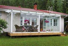 Lasitus mahdollistaa terassin sisustamisen mukavaksi oleskelutilaksi Chile, Home Goods, Amazing, Outdoor Decor, Home Decor, Interiors, Google, Gardens, Decks