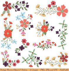 Vintage Flowers Clipart Clip Art and Vectors, Flower Decoration Clipart Clip Art - Commercial and Pe Banners, Vintage Music Posters, Art Folder, Vector Flowers, Aboriginal Art, Textile Artists, Flower Patterns, Textile Patterns, Vintage Photography