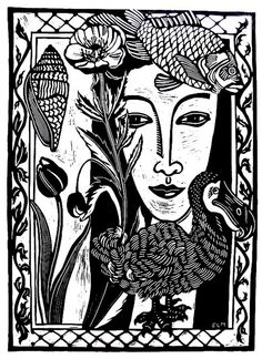 Draw Flowers ARTFINDER: Nature Girl by Laurel Macdonald - I grew up on a farm with six sisters. The girl in this image is a composite of me and my sisters. I love to draw flowers and shells and birds, so I surroun. Lino Art, 3d Drawings, Flower Drawings, Plant Drawing, Art Courses, Tampons, Linocut Prints, Art History, Draw Flowers