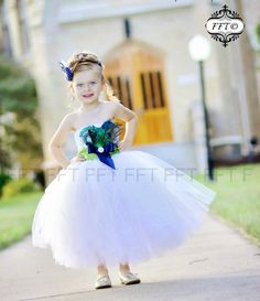 Peacock Feather Flower Girl Dress blue/green by FrillyFairyTales, $95.00