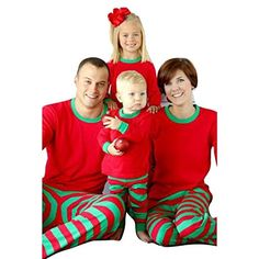 d79500e2ae Hibote Conjunto Pijamas Familia Navidad a Juego con Dos Piezas Top Manga  Larga Pantalones Rayas