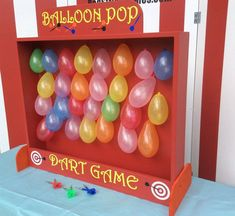 Balloon Dart Game, Target Gallery, dart balloon ca Carnival Booths, Carnival Games For Kids, Carnival Themed Party, Carnival Birthday Parties, Circus Birthday, Birthday Games, Birthday Party Themes, Homemade Carnival Games, Carnival Ideas