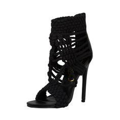 Privileged Lexi Crochet Heel- (Black) (30 KWD) ❤ liked on Polyvore featuring shoes, pumps, heels, crochet shoes, heels & pumps, woven shoes, privileged shoes and black heel pumps