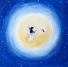 Moon child original painting by DreamTreeWonders on Etsy