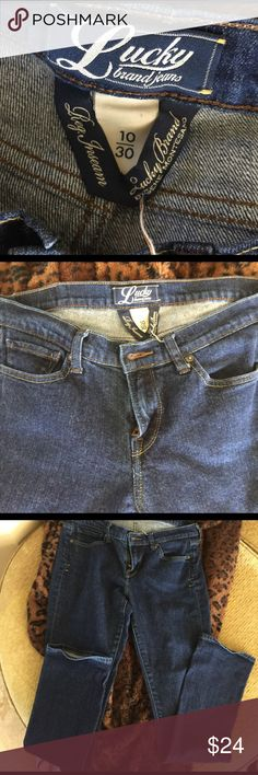 Lucky brand blue jeans!!! Lucky Brand jeans size 10/30 mis rise straight leg!  Perfect condition!!! Lucky Brand Jeans Straight Leg