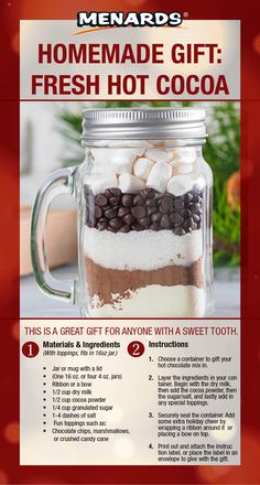 The comfort of hot chocolate can ward off even the chilliest of winter days! Make your friends and family a delicious gift that they … Hot Chocolate In A Jar, Hot Chocolate Gifts, Homemade Hot Chocolate, Hot Chocolate Recipes, Mason Jar Christmas Gifts, Mason Jar Gifts, Homemade Christmas Gifts, Mason Jar Meals, Meals In A Jar