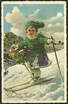 child on skis Holiday Greeting Cards, Vintage Greeting Cards, Christmas Greetings, Vintage Postcards, Christmas Postcards, Christmas Past, Winter Christmas, Vintage Christmas Images, Winter Images