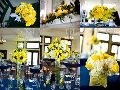Navy And Yellow Wedding Decorations | yellow wedding flowers