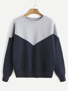 Contrast Dropped Shoulder Seam Sweatshirt Mobile Site