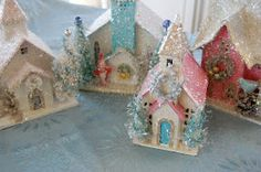 Do-it-yourself glittered Christmas houses Love Putz Houses! Shabby Chic Christmas, Pink Christmas, All Things Christmas, Christmas Home, Vintage Christmas, Christmas Holidays, Christmas Decorations, Christmas Ornaments, Christmas Garden