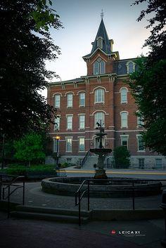 John Purdue fountain and University Hall