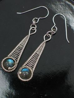 Labradorite in Silver Wire Wrap Earrings Wire Wrapped Jewelry Handmade by wanting #WireWrapJewelry