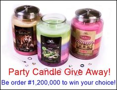 Party Candle Give Away! The lucky winner will get to choose one of these 3 huge 320oz 6 scent layers party candles with 12 pieces of random jewelry hidden inside! Will your order number be #1,200,000! https://www.jewelryincandles.com/store/barbs