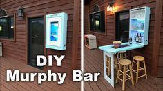 How to make a Murphy Bar with Krylon® Brand that will light up your patio! This simple to make Murphy Bar is a cabinet that folds down to form a table. Diy Bar, Bar Table Diy, Bar Tables, Murphy Table, Murphy Bar, Horizontal Murphy Bed, Porch Accessories, Pallet Bar, Space Saving Furniture