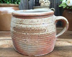 Pot en Terre Cuite avec Anse, Rustique, France, Pot à Confit, Support d'Ustensiles, Jardinière, Décoration Française pour Shabby Cottage