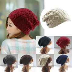 Twist Pattern Knitted Sweater Fashion beanie Hats For woman