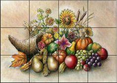 Kitchen Tiles Fruits Vegetables ceramic tile mural - fruit bouquet ii -corrado pila - kitchen