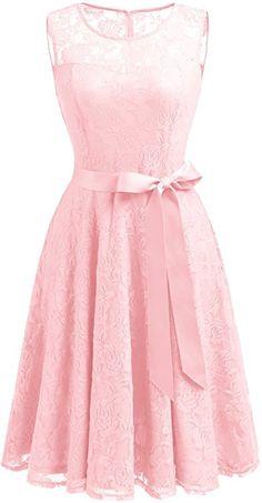 Dressystar DS0009 Abendkleid Ärmellos Kurz Brautjungfern Kleid Spitzen  Rundhals Damen Kleider Rosa S  Amazon. a47621ff28