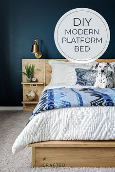 Diy Platform Bed Frame, Platform Bed Plans, Modern Platform Bed, Diy Furniture Tutorials, Diy Furniture Plans, Bed Frame And Headboard, Diy Bed Frame, Painted Night Stands, Farmhouse Dining Room Table