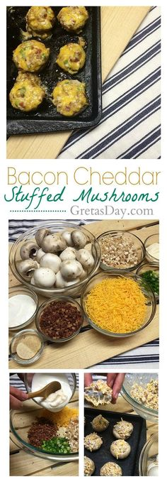 How to make the best bacon cheddar stuffed mushrooms ever. This recipe is great for an appetizer or a main meal. Only 9 WW points, too!