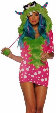 Womens Leg Avenue Melody Monster XS Sexy Halloween Costume Cosplay Dress Hood