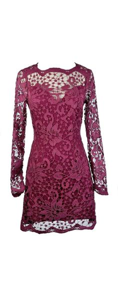Lily Boutique Ginger Fizz Mulberry Moment Longsleeve Lace Dress, $90 www.lilyboutique.com