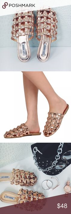 New! Rose Gold Metallic Caged Myles Slides Flats NWT boutique item. Very comfortable and the metallic trend is huge with all the latest fashion bloggers! These are absolutely gorgeous patent leather Rose Gold Slides featuring Rose gold Studded detailing and a caged design. Heel: 0.5 inches. Width: Medium (B,M). Multiple sizes available. Comes with box Cape Robbin  Shoes Flats & Loafers