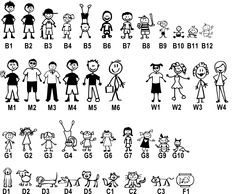 Stick Figure Family, Stick Family, Funny Stickers, Car Stickers, Cute Handwriting, Stick Figure Drawing, Family Drawing, Fingernail Designs, Sticker Ideas