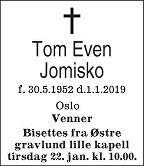 Tom Even Jomisko Dødsannonse Toms, Math Equations