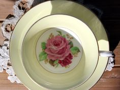 Rosina Tea Cup and Saucer English Teacup Bone by TheVintageTeacup