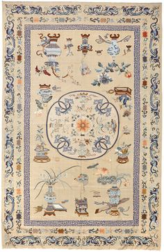 Large ivory ground Kesi woven silk panel, Late Qiing/Repulbic period. Bonhams : Fine Chinese Works of Art