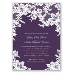 These floral lace wedding invitations from David's Bridal set the tone for a classically romantic marriage celebration! See the invite set and accessories now! Purple Wedding Invitations, Vintage Wedding Invitations, Elegant Invitations, Wedding Invitation Sets, Wedding Stationary, Apple Invitation, Invitation Ideas, Invitation Cards, Wedding Paper