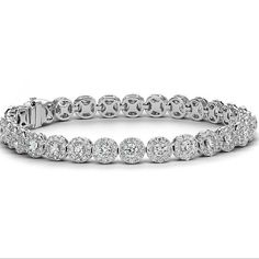 Diamond Halo Bracelet in White Gold ct. Emerald Cut Diamonds, Halo Diamond, Gemstone Jewelry, Quartz Jewelry, Gold Jewellery, Jewelery, Bracelet Designs, Body Jewelry, Bangle Bracelets