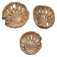 DecMode Teak Decor Decorative Bowl - Set of 3 - 75557