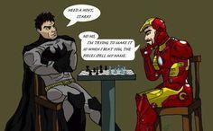 «Ti serve aiuto, Stark?» «No, sto cercando di fare in modo che, una volta che ti ho battuto, i pezzi dicano il mio nome» #IronMan #Batman #Marvel #Chess #Scacchi