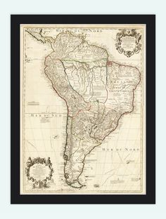Old Map South America Brasil Venezuela Peru Argentina Chile 1708