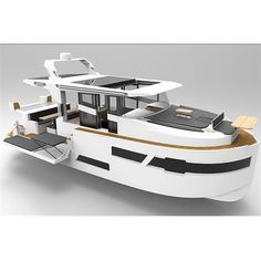 while the engineering is provided by Osman Ender Kalender and Production team by Marin Craft founder and Dinamar Marin. Luxury Pontoon Boats, Pontoon Houseboat, Yatch Boat, Boat Building Plans, Boat Plans, Yacht Design, Boat Design, Explorer Yacht, Camper Boat