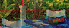 "Natasha Metaxa ""Breakfast in Kefalonia"" acrylic on canvas Famous Landscape Paintings, Art History, Math, Canvas, Artwork, Artist, Breakfast, Tela, Morning Coffee"