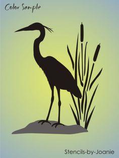 "Wetland Bird Stencil 8"" Tall Great Blue Heron Cattails Rustic Cabin Art Signs | eBay"