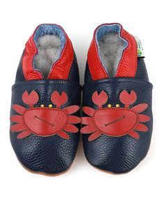 Look at this Augusta Baby Navy & Red Crab Leather Booties on #zulily today!