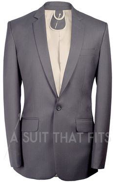 Grey Distinguished 2-Piece Suit with brass lining.