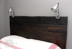 Reclaimed Barn Board Headboard with lights attached Decor, Home Improvement, House Styles, Lights, Barn Board, Headboard, Bed Frame, Reclaimed Barn Wood, Headboard With Lights