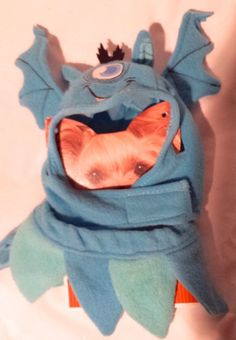 Costume Halloween Blue One Eyed Monster Hat & Ruffle Pet Dog Cat XS/S #Monocole #monstersinc