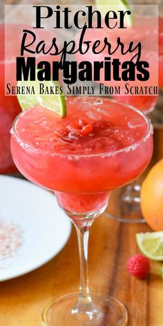 Raspberry Margaritas are a favorite pitcher cocktail recipe are perfect for parties from Serena Bakes Simply From Scratch. Pitcher Margarita Recipe, Mango Margarita, Margarita Recipes, Cocktail Recipes, Pitcher Drinks, Grand Marnier, Party Food And Drinks, Fun Drinks, Beverages